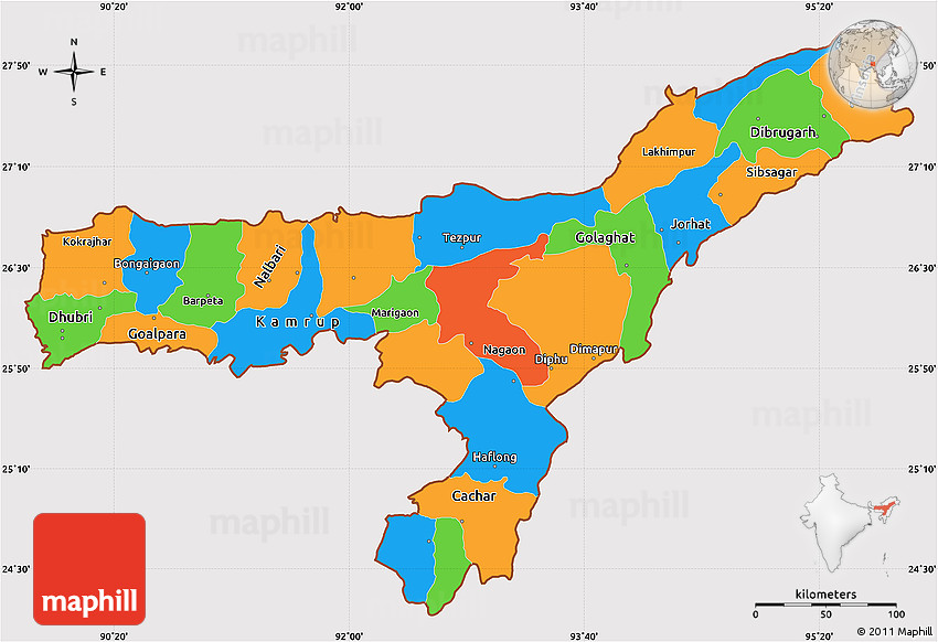 Political Simple Map Of Assam Cropped Outside