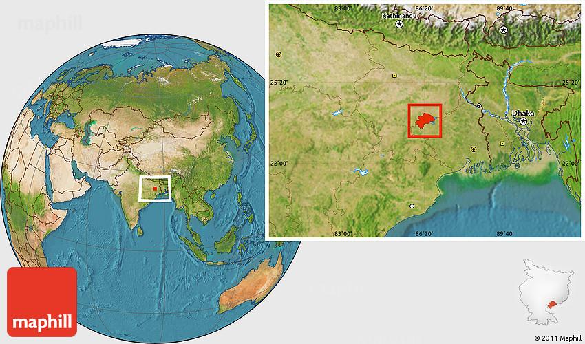 Satellite Location Map Of Dhanbad - Dhanbad map