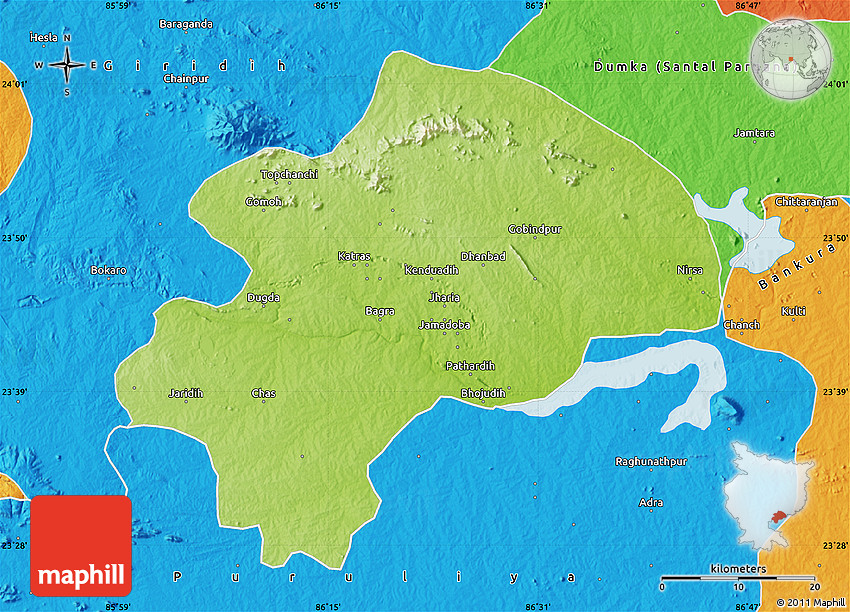 Physical Map Of Dhanbad Political Outside - Dhanbad map