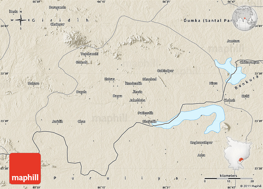 Shaded Relief Map Of Dhanbad - Dhanbad map