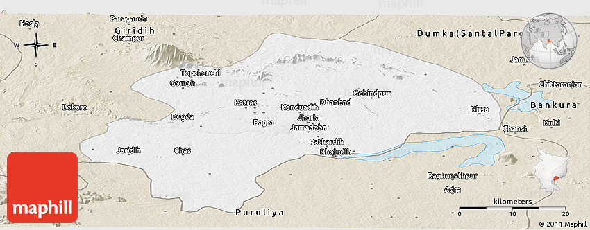 Classic Style Panoramic Map Of Dhanbad - Dhanbad map