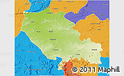 Physical 3D Map of Palamu (Daltenganj), political outside