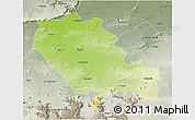 Physical 3D Map of Palamu (Daltenganj), semi-desaturated