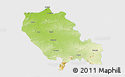Physical 3D Map of Palamu (Daltenganj), single color outside