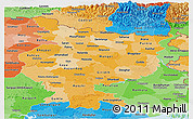 Political Shades Panoramic Map of Bihar