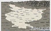 Shaded Relief Panoramic Map of Bihar, darken