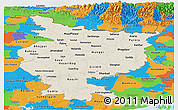 Shaded Relief Panoramic Map of Bihar, political outside