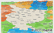 Shaded Relief Panoramic Map of Bihar, political shades outside