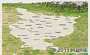 Shaded Relief Panoramic Map of Bihar, satellite outside