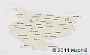 Shaded Relief Panoramic Map of Bihar, single color outside