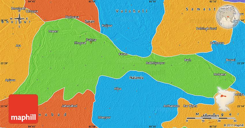 Patna In India Map.Political Map Of Patna