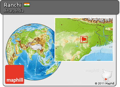 Location Of Ranchi In India Map.Free Physical Location Map Of Ranchi