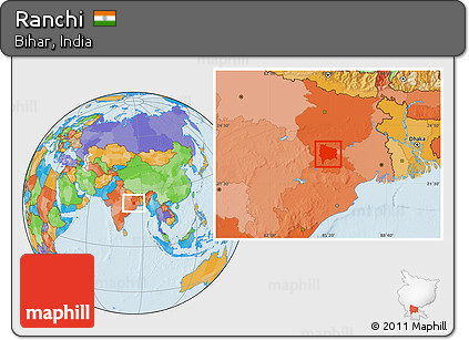 Ranchi In India Map.Free Political Location Map Of Ranchi