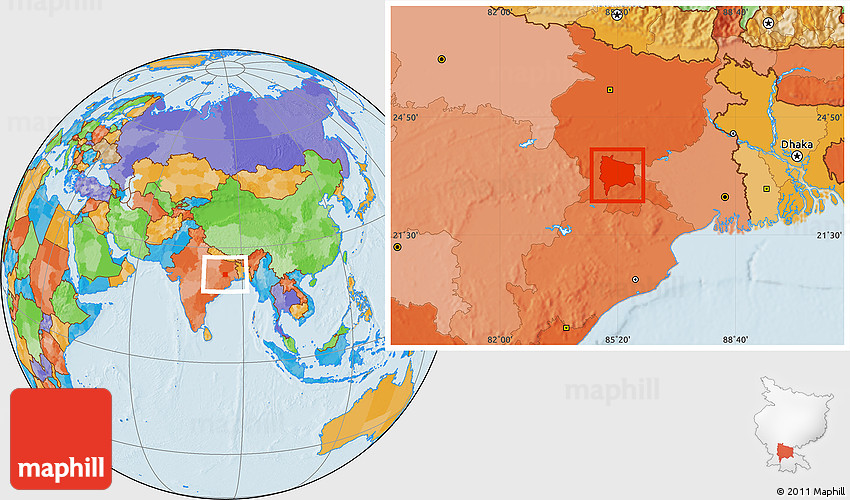 Location Of Ranchi In India Map.Political Location Map Of Ranchi
