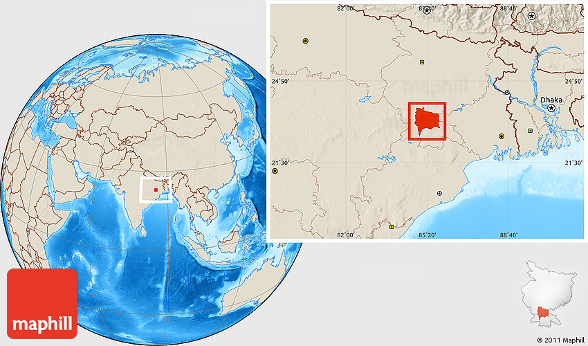 Location Of Ranchi In India Map.Shaded Relief Location Map Of Ranchi