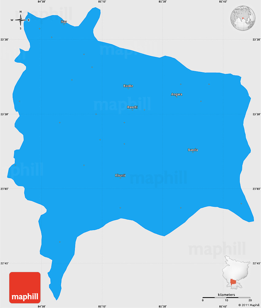Ranchi In India Map.Political Simple Map Of Ranchi Single Color Outside