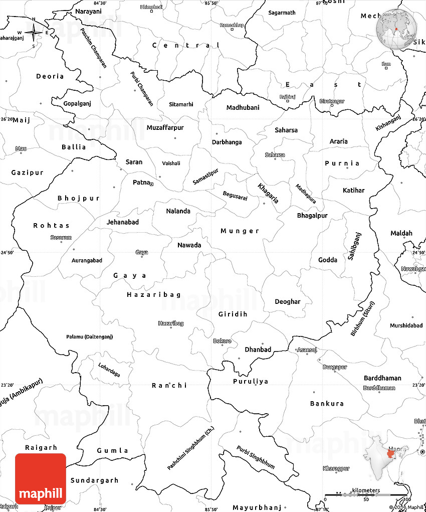 blank simple map of bihar