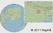 Savanna Style Location Map of Vaishali, hill shading