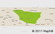 Physical Panoramic Map of Vaishali, shaded relief outside