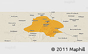 Political Panoramic Map of Delhi, shaded relief outside