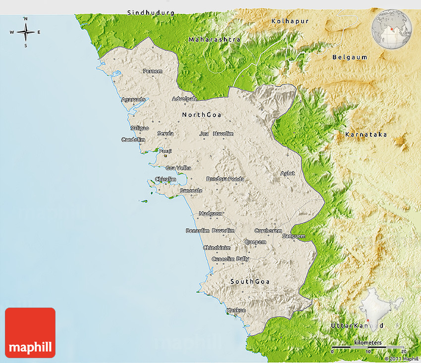 Shaded relief 3d map of goa physical outside 2d gumiabroncs Images