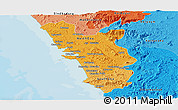 Political Shades Panoramic Map of Goa