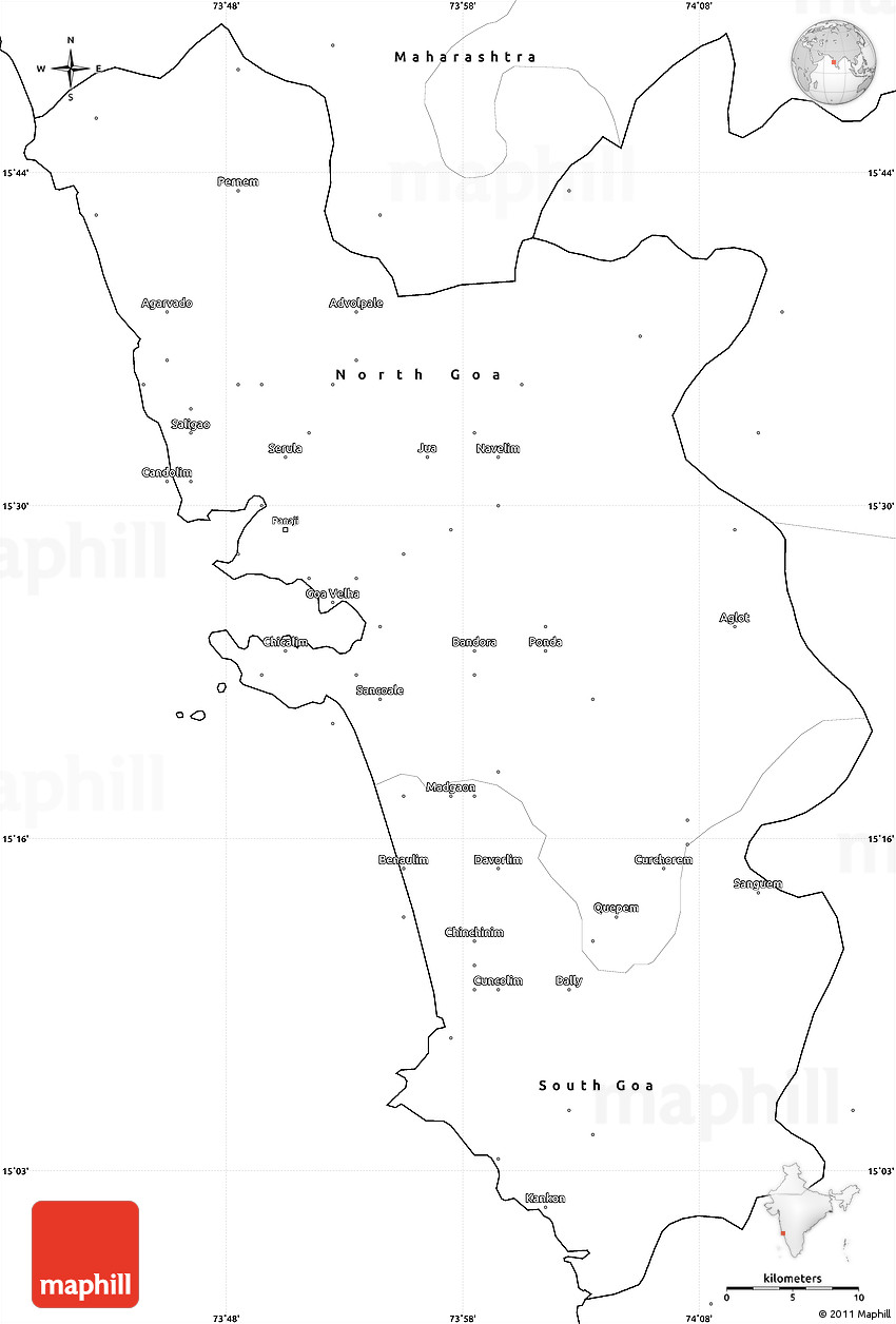 blank simple map of goa