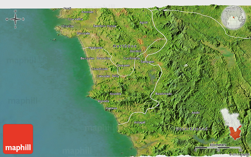 Satellite D Map Of South Goa - Google 3d satellite map