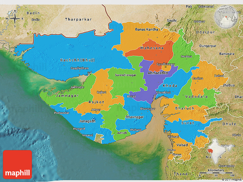 Political 3d map of gujarat satellite outside gumiabroncs Images