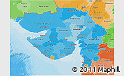 Political Shades 3D Map of Gujarat