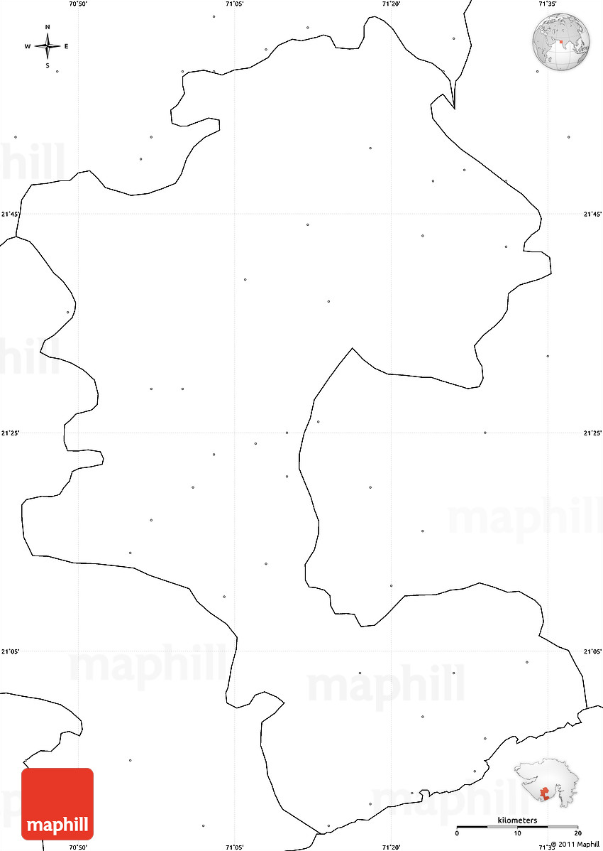 Blank Simple Map of Amreli, no labels