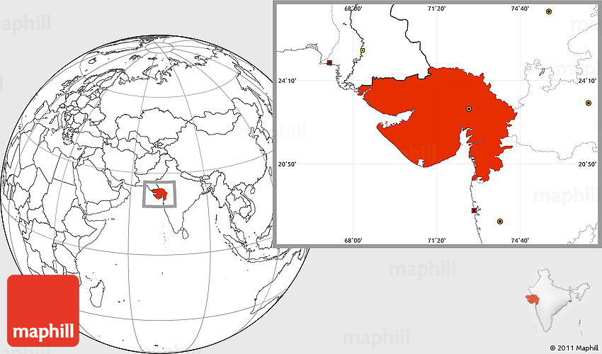 Blank Location Map of Gujarat