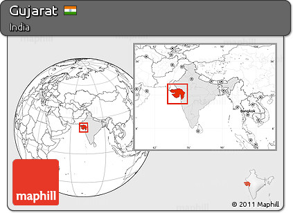 Free Blank Location Map of Gujarat, highlighted country, within the ...