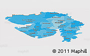 Political Shades Panoramic Map of Gujarat, cropped outside
