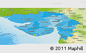 Political Shades Panoramic Map of Gujarat, physical outside