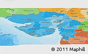 Political Shades Panoramic Map of Gujarat