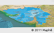 Political Shades Panoramic Map of Gujarat, satellite outside
