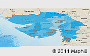 Political Shades Panoramic Map of Gujarat, shaded relief outside