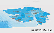 Political Shades Panoramic Map of Gujarat, single color outside