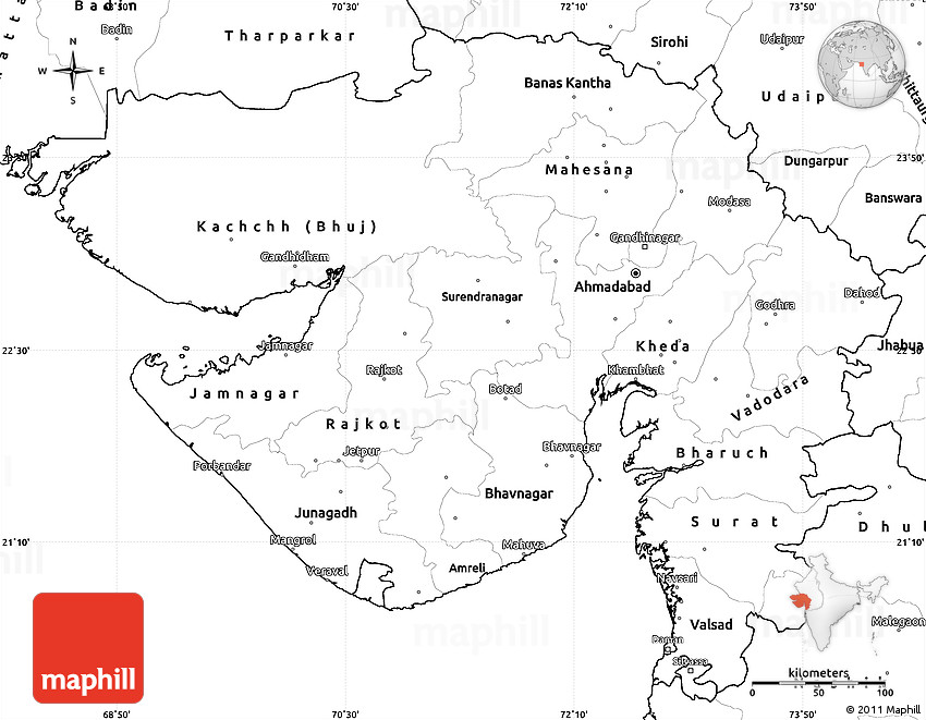 Blank Simple Map of Gujarat