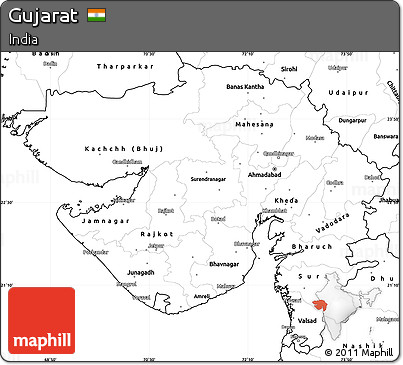 Free Blank Simple Map of Gujarat
