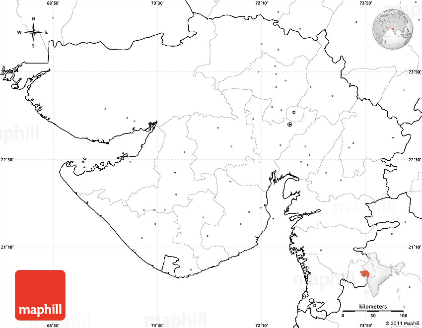 Blank Simple Map Of Gujarat No Labels