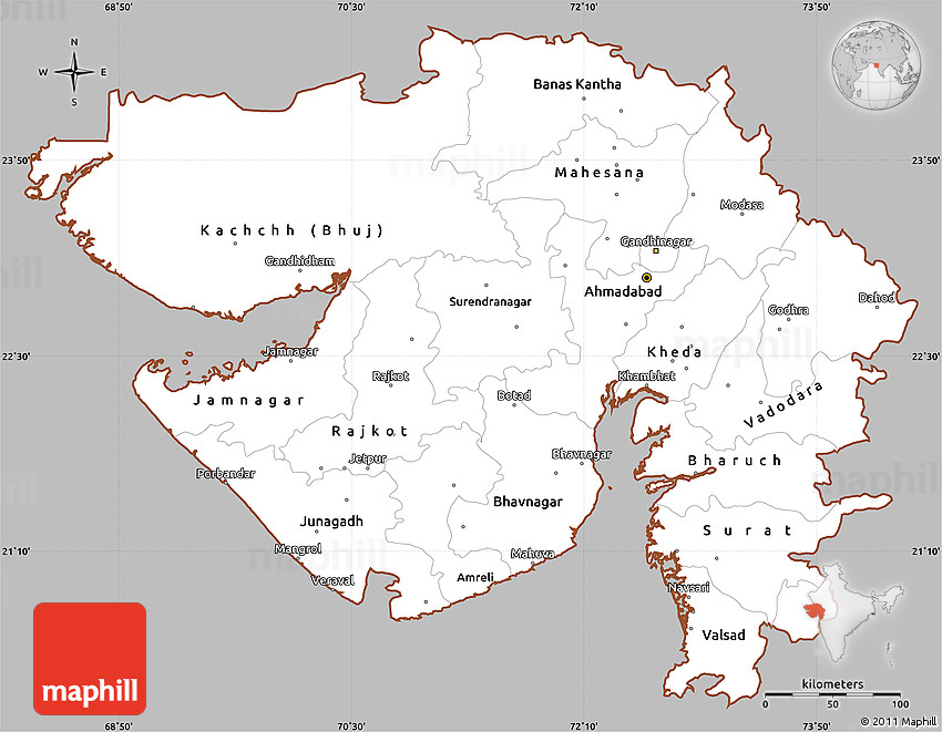 Gray Simple Map of Gujarat, cropped outside