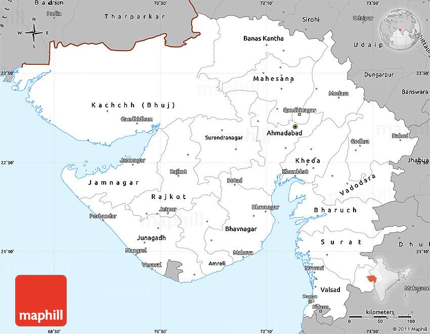 Gray Simple Map of Gujarat