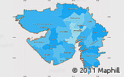 Political Shades Simple Map of Gujarat, cropped outside