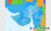 Political Shades Simple Map of Gujarat, political outside