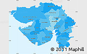 Political Shades Simple Map of Gujarat, single color outside