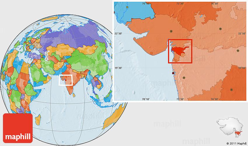 surat in india map Political Location Map Of Surat surat in india map