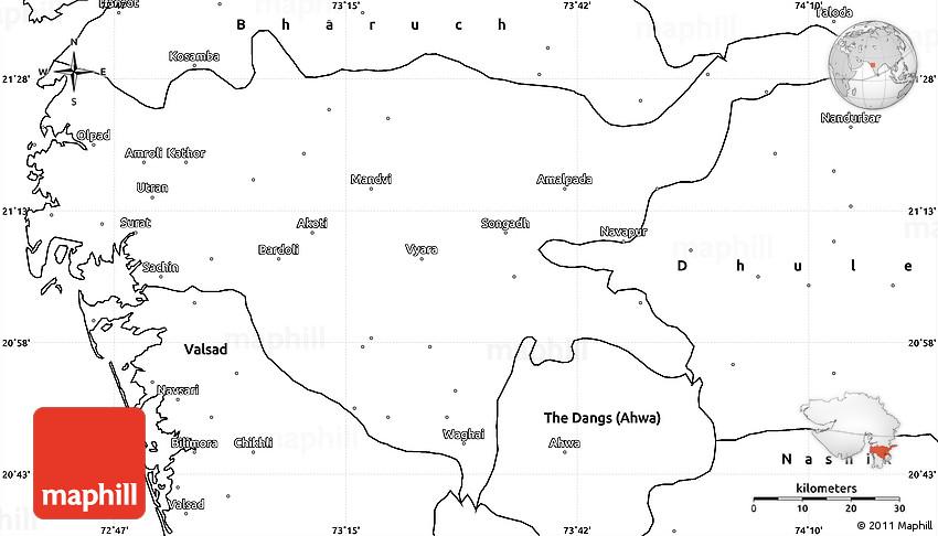 Blank Simple Map of Surat