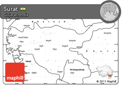 Free Blank Simple Map of Surat